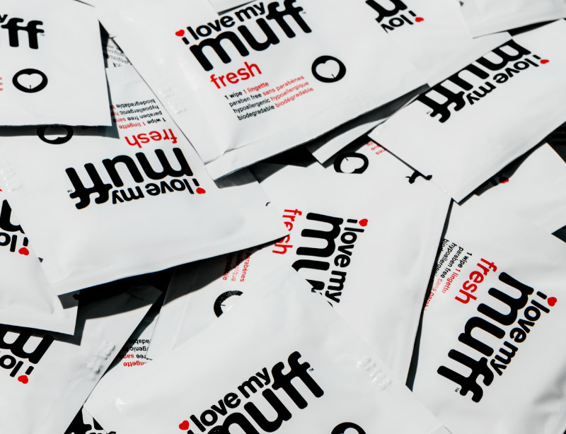 I Love My Muff Single Packet Fresh Wipes Red